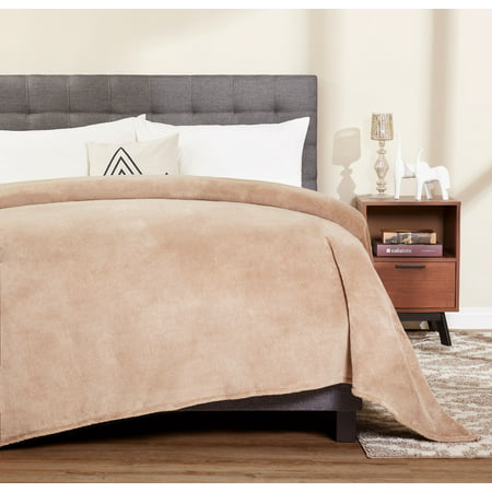 Mainstays Plush Queen Brownstone Bed Blanket, 1 Each
