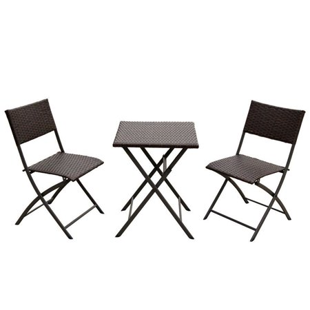 Naturefun Outdoor Balcony Foldable Bistro Furniture Sets, Wood-Like Resin Rattan, Rust-Proof Steel Frames, 3-Piece of Foldable Table and Chairs ()