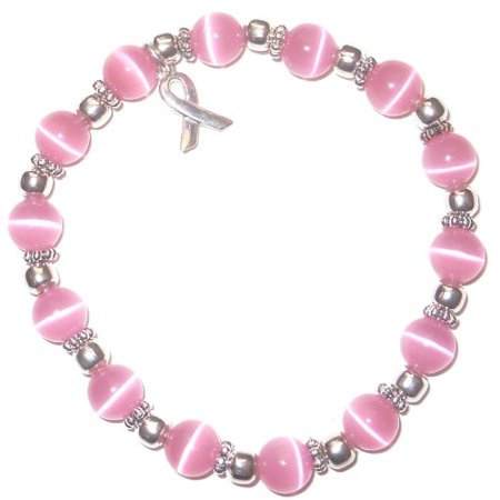 Breast Cancer Beading Watch (Hidden Hollow Beads Stretchy Pink BREAST Cancer Packaged Awareness Bracelet- 8mm beads.  Fits most)
