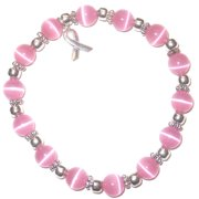 Hidden Hollow Beads Stretchy Pink BREAST Cancer Packaged Awareness Bracelet- 8mm beads.  Fits most adults.