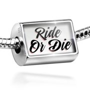Neonblond Charm Vintage Lettering Ride Or Die 925 Sterling Silver Bead