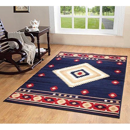Southwest Southwestern Modern Rustic Lodge Area Rug, Blue, 3'6