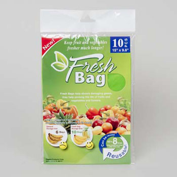 PRODUCE FRESH BAG 10PK 15X9.8IN/12PC MERCHSTRIP, Case Pack of 96