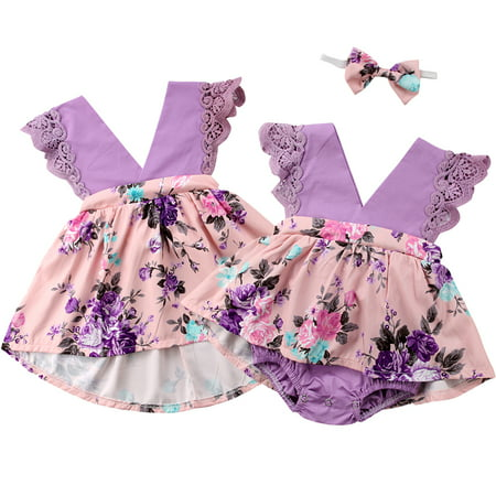 Infant Toddler Baby Kids Girls Clothes Lace Floral Sleeveless Little Sister Romper/ Big Sister Dress Matching Outfits For 0-6 Years](Infant Tuxedo Romper)