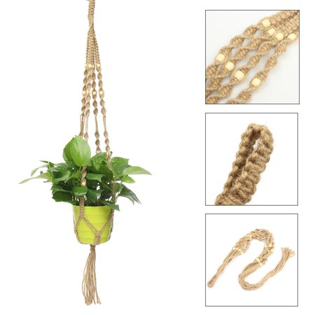 33.5 inch Plant Flower Hanger Hemp Jute Rope Plant Macrame Pot Holder Hanging Basket with Bead - Macrame Plant Hanger Diy