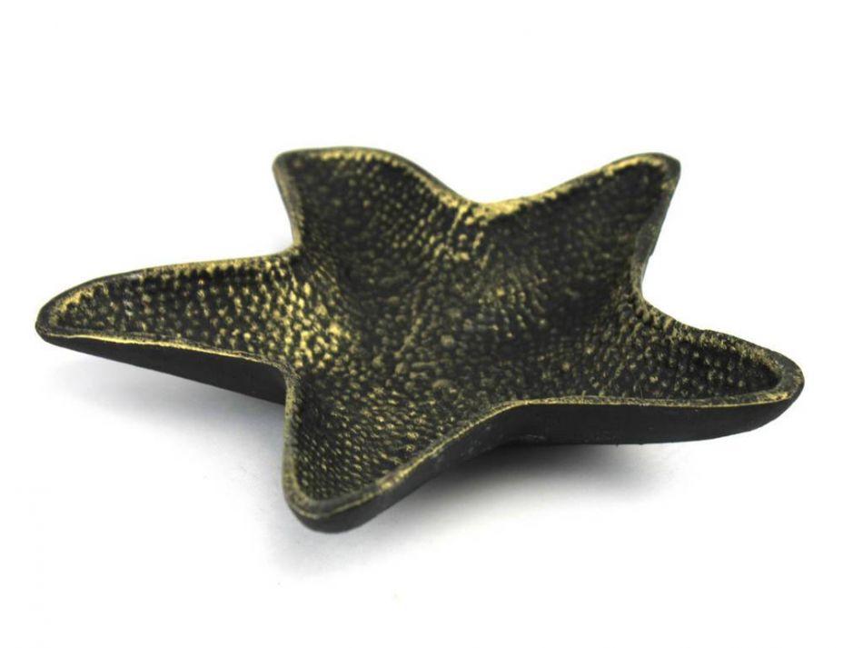 "Antique Gold Cast Iron Starfish Decorative Bowl 8"" Decorative Cast Iron Bowl Starfish Decoration by Hampton Nautical"