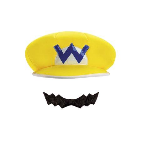 WARIO CHILD HAT & MUSTACHE](Kids Mustache)
