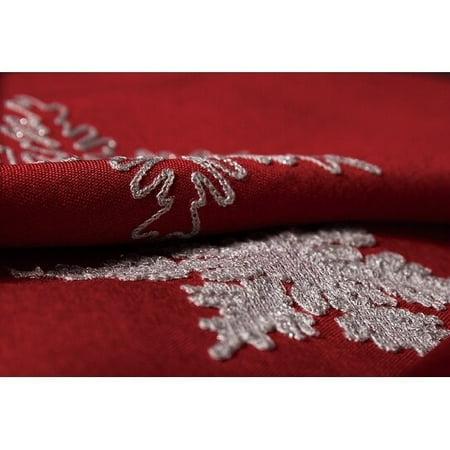 Glisten Snowflake Embroidered Christmas Round Tablecloth, 70-Inch, Red - Round Christmas Tablecloths