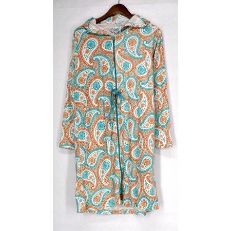 Cozelle Size S/M Terry Velour Drawstring Robe Paisley Orange / Blue g412498 2 Ply Velour Terry