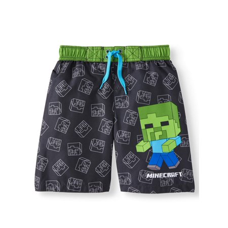 Minecraft Big Boys' Green Creeper Board Short Swim Trunk Swimwear -  Black/Green