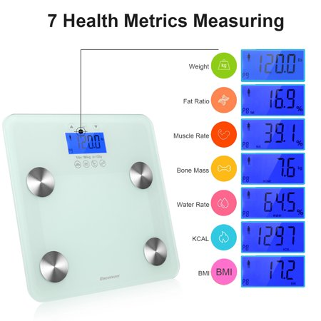 EXCELVAN Body Fat Scale High Precision LCD Display With Blue Backlight Measuring Weight Fat Muscle Bone Water KCAL BMI 6mm Tempered