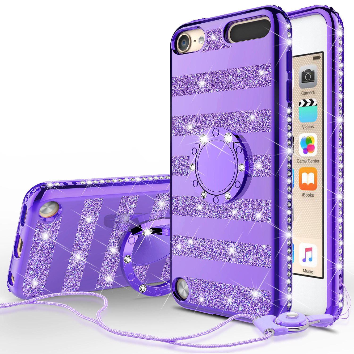 Apple iPod Touch 6 Case, iPod 6/5 Case [Tempered Glass Screen Protector],Glitter Ring Stand Bling Sparkle Diamond Case For Apple iPod Touch 5/6th Generation - Red Stripe - image 5 de 5