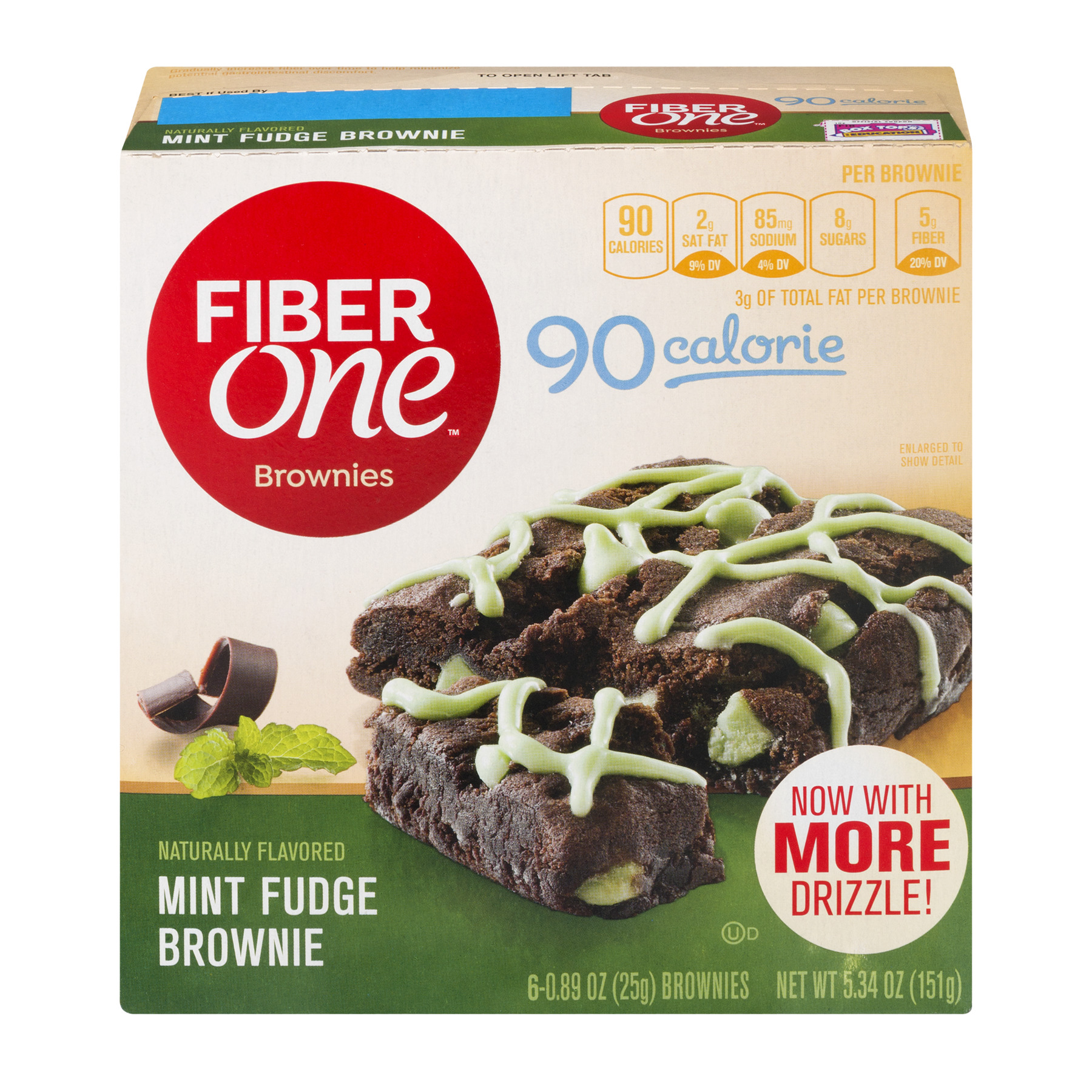 Fiber One 90 Calorie Brownie Mint Fudge 6 - 0.89 oz Bars