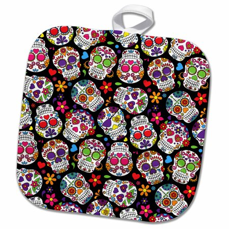 Pattern Sugar Base - 3dRose Colorful Tossed Sugar Skulls Pattern - Pot Holder, 8 by 8-inch