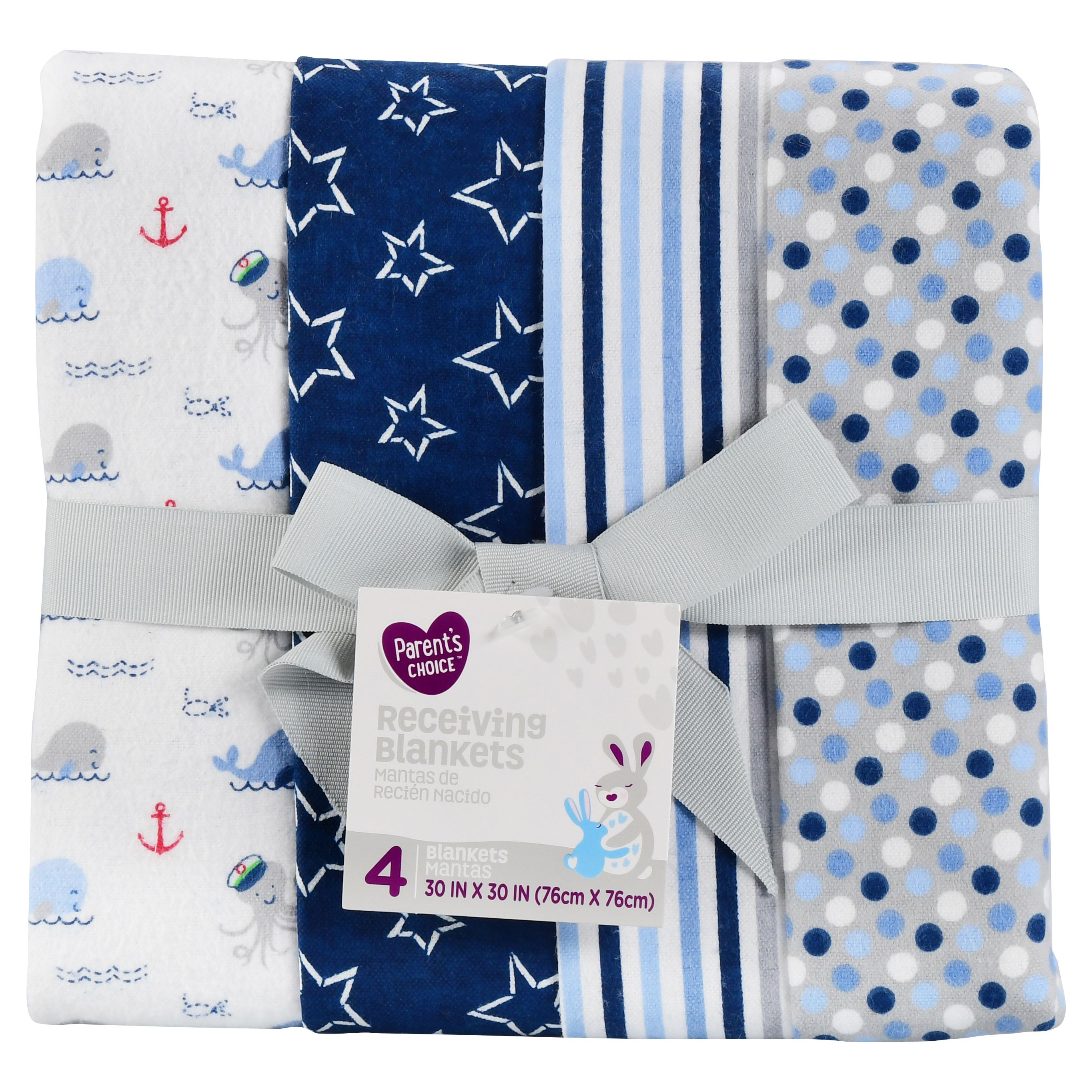 Parent's Choice Receiving Blankets, Blue, 4 Count