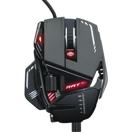 Mad Catz The Authentic R.A.T. 8+ Optical Gaming Mouse - Pixart 3389 - Cable - Black - USB 2.0 - 16000 dpi - 11