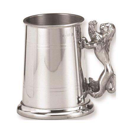Pewter Glass Bottom - Pewter Lion Handle Glass Bottom 17Oz Tankard Designer Jewelry by Sweet Pea