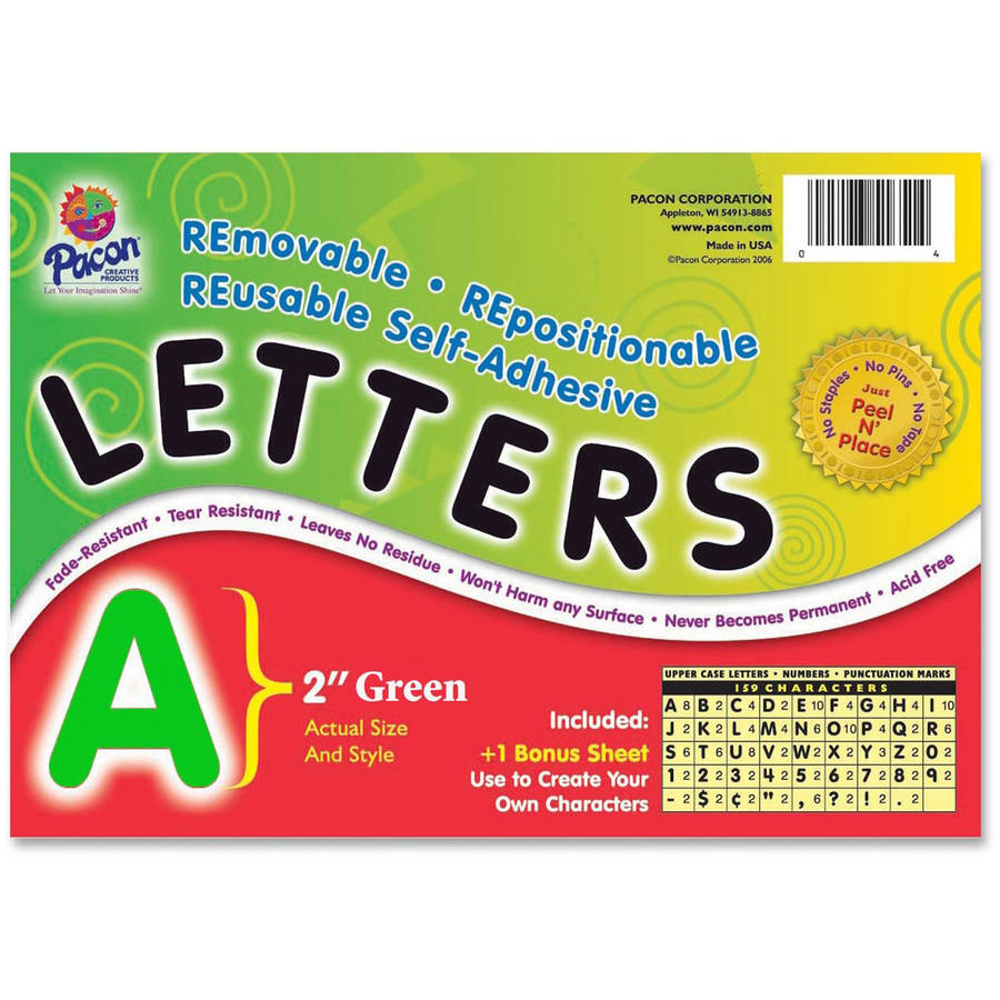 Pacon Colored Self-Adhesive Removable Letters