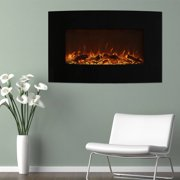 Northwest 36 inch Curved Color Changing Wall Mounted Electric Fireplace, includes Floor Stand