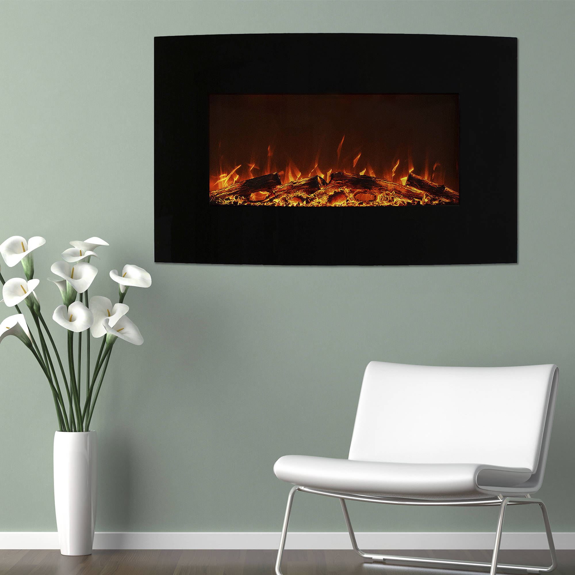 "Northwest 36"" Curved Color Changing Fireplace with Wall Mount and Floor Stand"