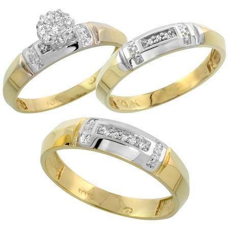Brilliant Cut Tahitian Ring - 10k Yellow Gold Mens Diamond Wedding Band Ring for Men 0.03 cttw Brilliant Cut 5.5mm wide Size 12