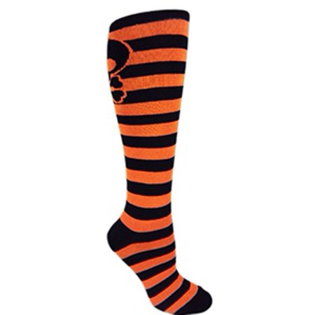 MOXY Socks Black and Orange Halloween Striped Skull Knee-High Socks