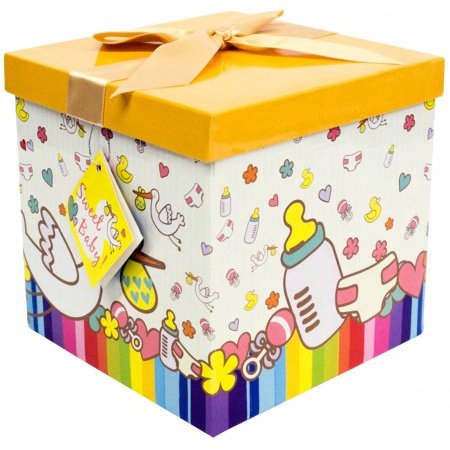Gift Box 12x12x12 Petite Bebe Collection - Easy to Assemble & Reusable - No Glue Required - Ribbon, Tissue Paper, and Gift Tag Included - EZ Gift Box by Endless (Baby Gift Box)