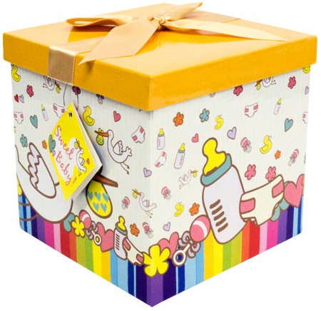 Gift Box 12x12x12 Petite Bebe Collection - Easy to Assemble & Reusable - No Glue Required - Ribbon, Tissue Paper, and Gift Tag Included - EZ Gift Box by Endless Art US