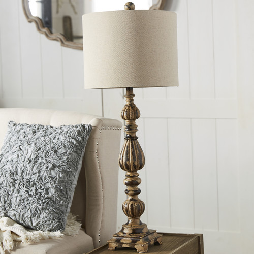 Slender Avian 35-Inch Table Lamp, Rustic Wood and White Wash