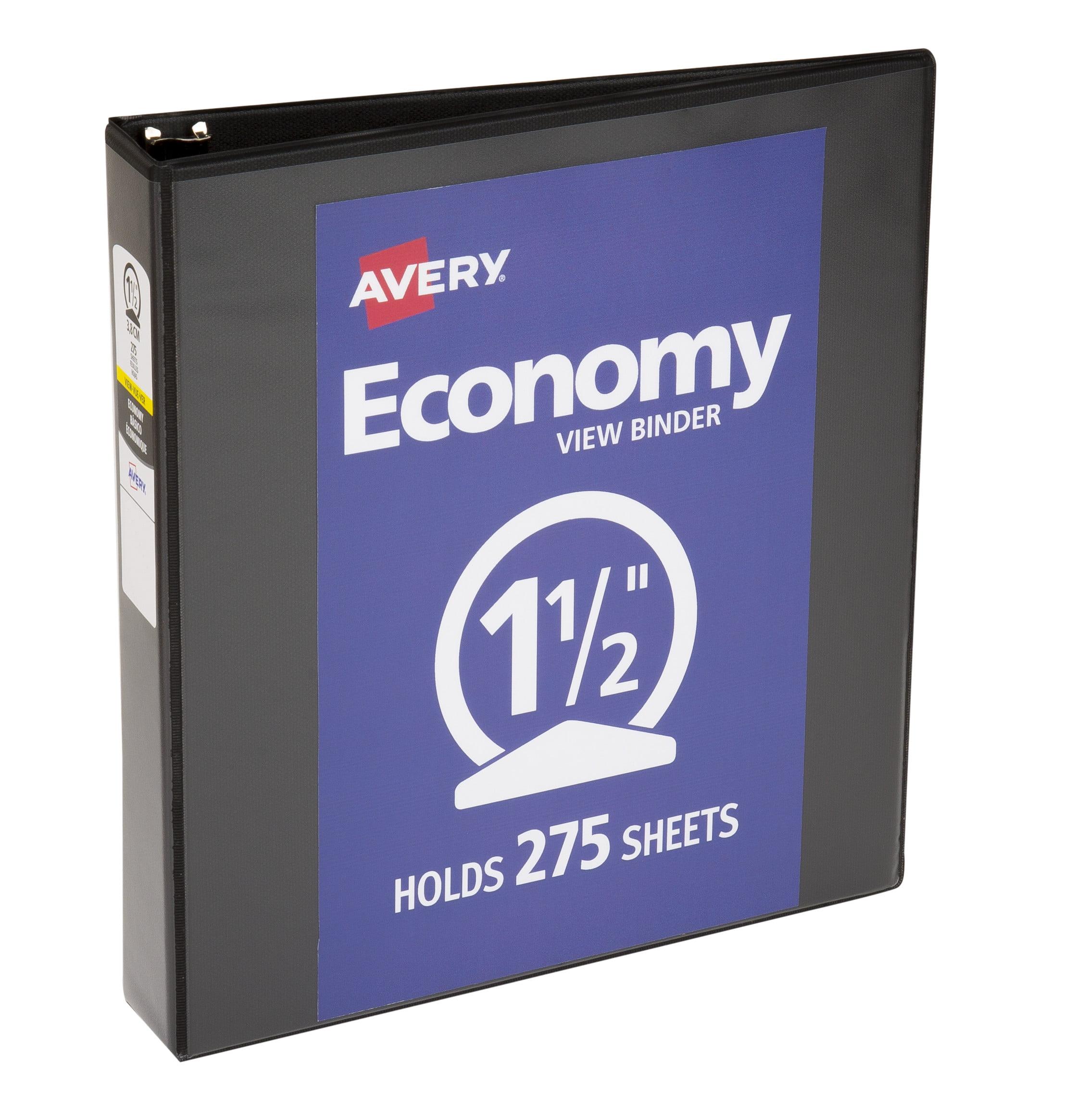 "Avery 1.5"" Economy View Binder, Round Rings, Black, 275"