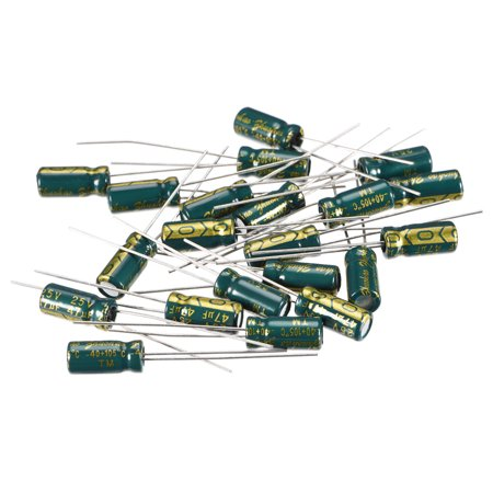 Aluminum Radial Electrolytic Capacitor Low ESR 47uF 25V 5x11mm 20pcs Green 47uf Radial Electrolytic Capacitor