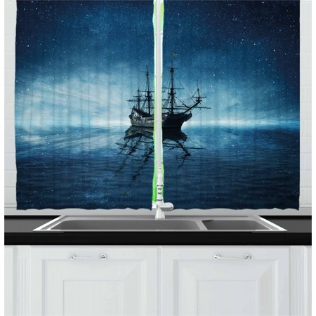 Pirate Ship Curtains 2 Panels Set, Ship on Dark Blue Sea with Starry Night Sky Water Reflection, Window Drapes for Living Room Bedroom, 55W X 39L Inches, Dark Blue Pale Blue Black, by Ambesonne