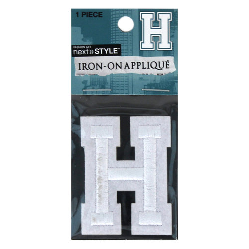 "Next Style Single Embroidery Letter, ""H"", White"