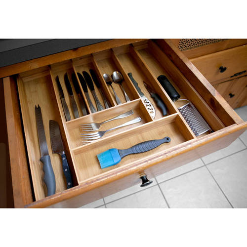 Home Basics Bamboo Expandable Cutlery Tray