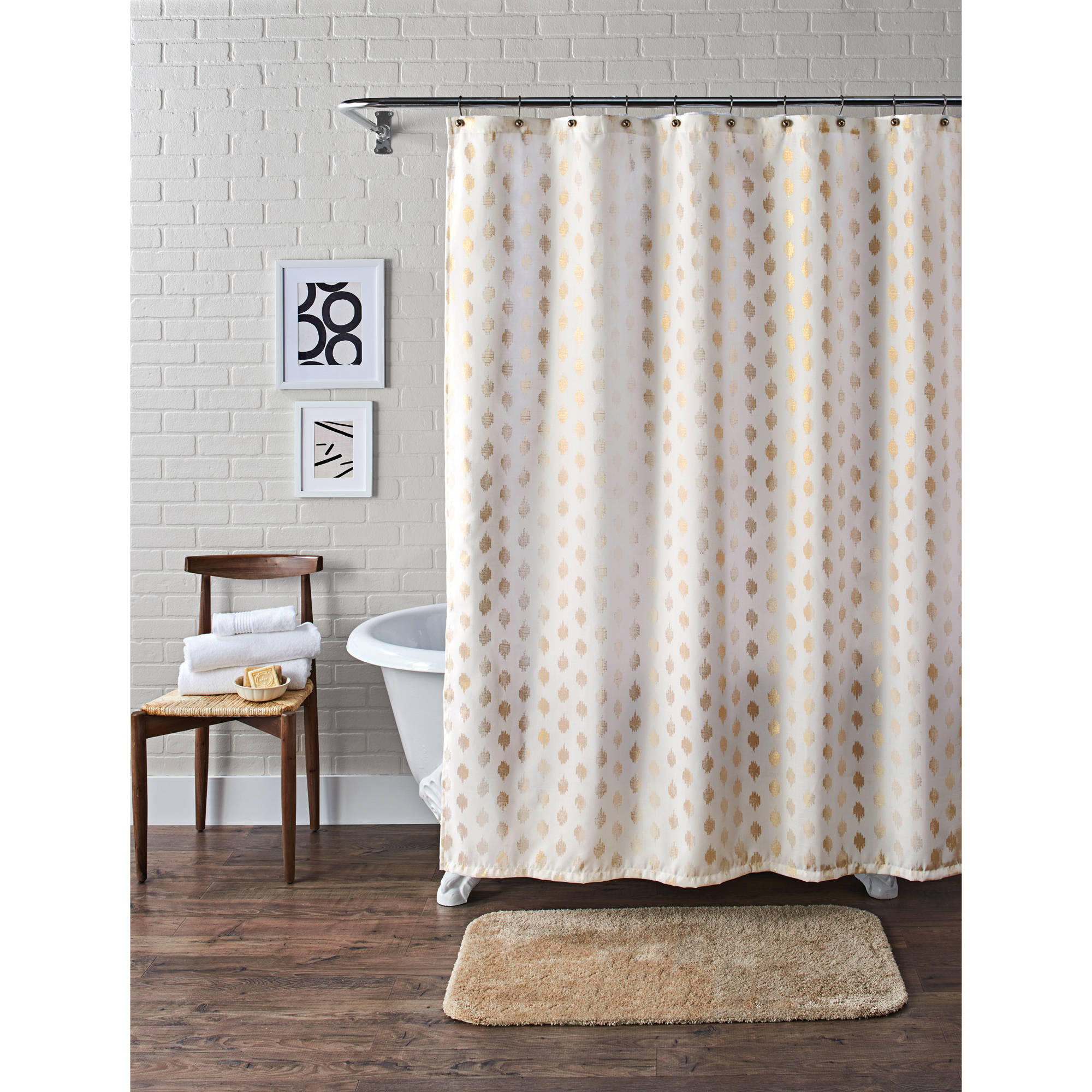 Better Homes and Gardens Metallic Ikat Dou Fabric Shower Curtain by Maytex Mills