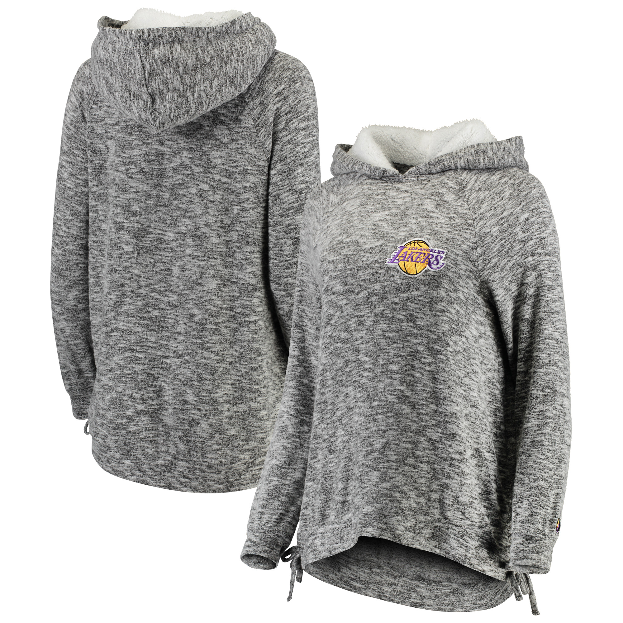 Los Angeles Lakers FISLL Women's Side Lace Sherpa Hacci Tri-Blend Pullover Hoodie - Heathered Gray
