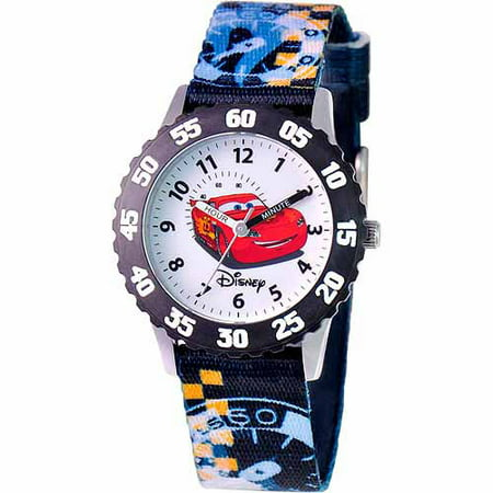 Disney cars lightning mcqueen boys 39 stainless steel watch black strap for Mcqueen watches