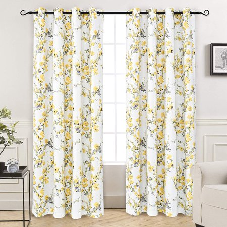 DriftAway Blossom Abstract Floral Botanic Room Darkening/Blackout Thermal Insulated Grommet Lined Window Curtains, Set of Two Panels, each size 52