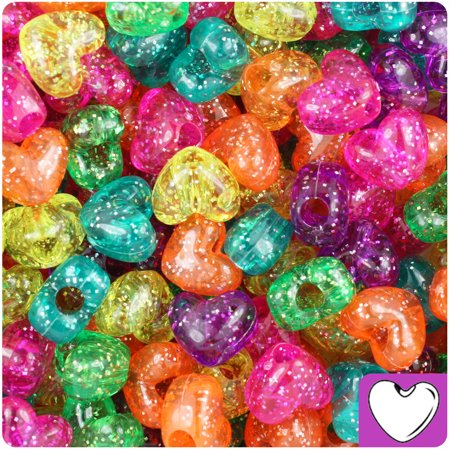 BeadTin Jelly Mix Sparkle 12mm Heart Pony Beads (250pcs)