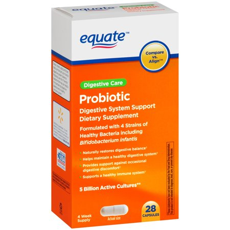 Equate Probiotic Digestive System Support Capsules 28 Ct