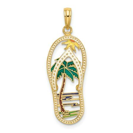 Gold Enamel Palm Tree - 14k Yellow Gold Enamel Palm Tree Flip-Flop Charm Pendant