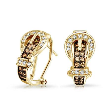 Brown Cubic Zirconia Earrings (Coffee Brown Cubic Zirconia Pave CZ Belt Buckle Stud Drop Earrings For Women Omega Back 14K Gold Plated)
