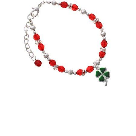 4 Leaf Clover Bracelet (Silvertone Green Four Leaf Clover with Heart Leaves Red Beaded Bracelet )