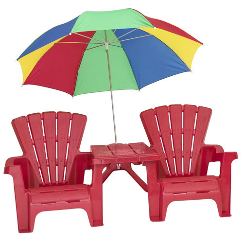 Kids Adirondack Chair and Table Set with Umbrella Red