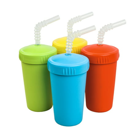 Re-Play Made in The USA 4pk Straw Cups with Reversable Reusable Straw for Easy Baby, Toddler, Child Feeding - Red, Sky Blue, Yellow, Lime Green (Preschool+)… - Kid Cups