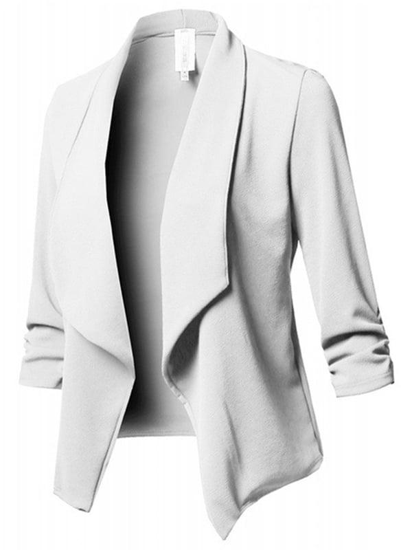 Women Floral Lightweight Open Front 3//4 Sleeve Jacket Work Suit Blazer  Small