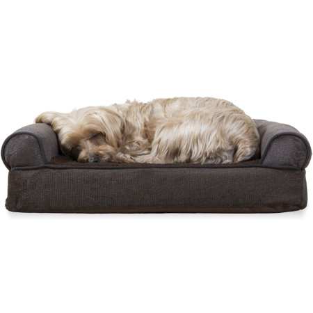 FurHaven Pet Dog Bed | Orthopedic Faux Fleece & Chenille Sofa-Style Couch Pet Bed for Dogs & Cats, Coffee, Small ()