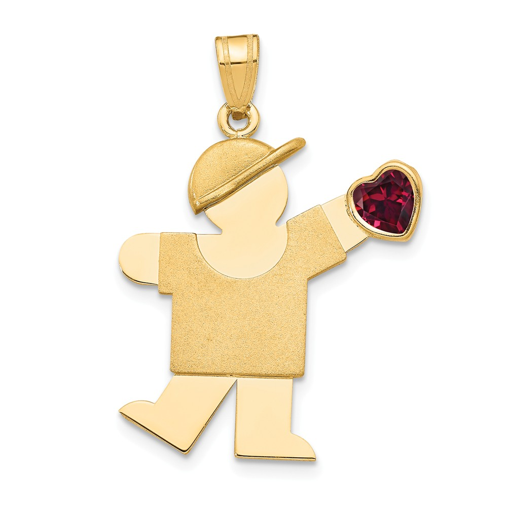 14k Yellow Gold Engravable Boy with CZ January Synthetic Birthstone Charm (1.2in long x 0.9in wide)