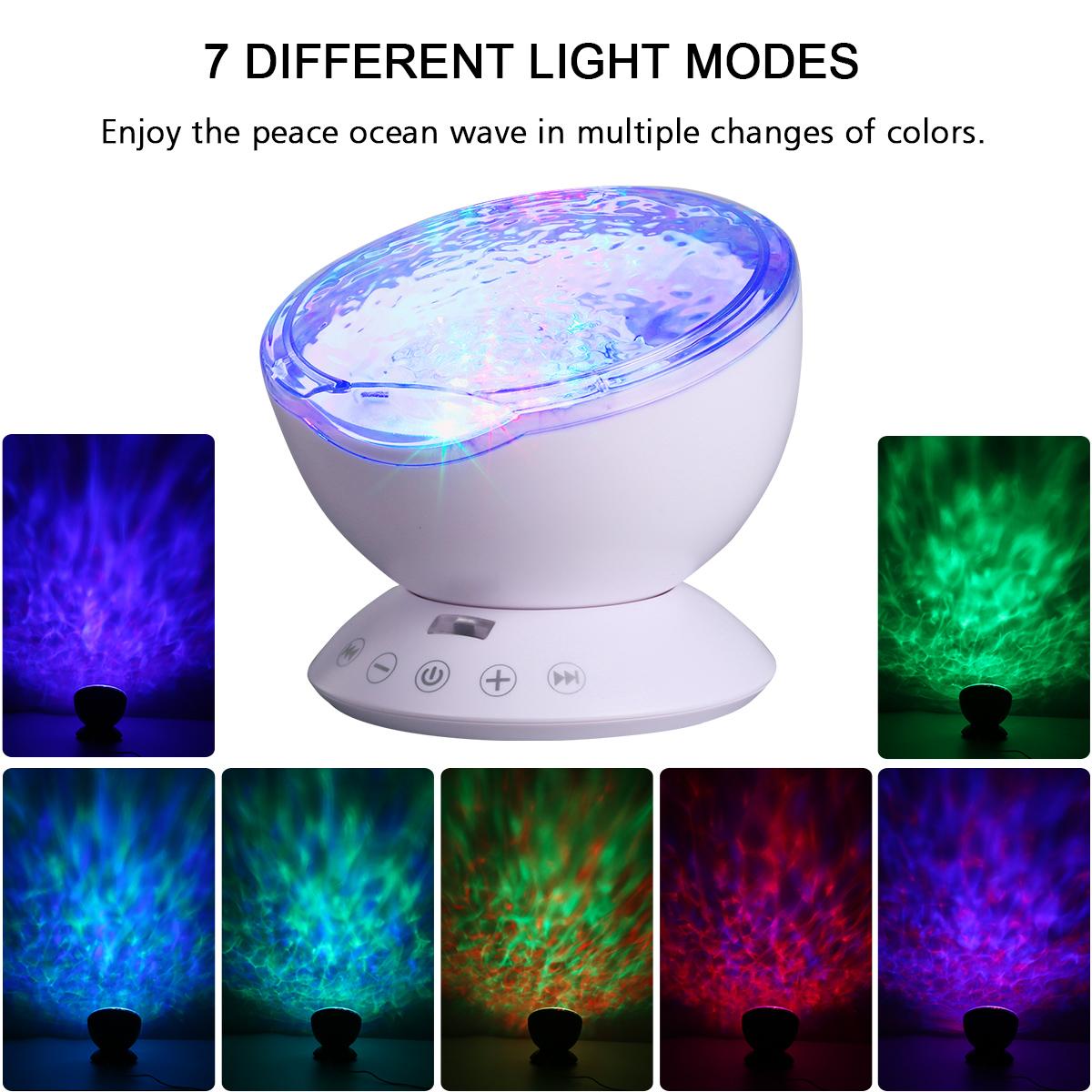 Lampwin Remote Control Ocean Wave Night Light Projector 12 LEDs & 7 Color changing Modes with Built-in Mini Music Player for Living Room and Bedroom (White)