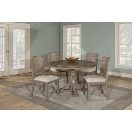 Hillsdale Furniture Clarion Five (5) Piece Round Dining Set with Side Chairs, Distressed Gray